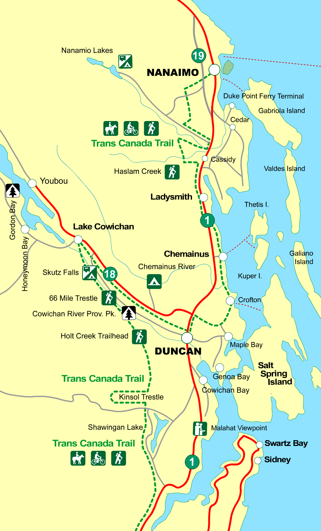 Map Of Duncan Bc Canada MAP Duncan to Nanaimo, Vancouver Island, BC, Canada