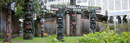 Thunderbird Park Totem Poles and Long House Victoria BC